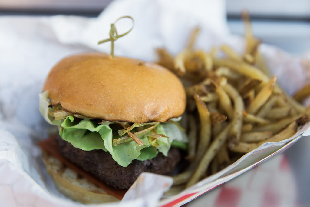 Spicy Sriracha Burger and fries at Molecular Munchies (Credit: Taylor Noel Photography)